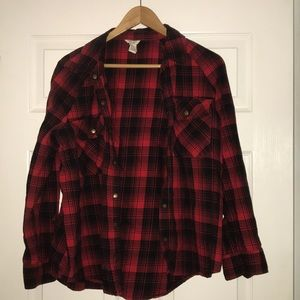 FOREVER 21 grungy plaid button down